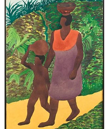 Mother and Child on a Track , 1934.  Watercolour 40.64  x 27.94 cm.