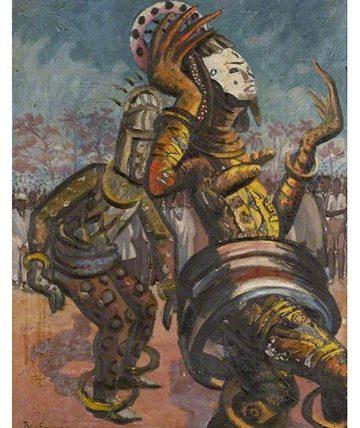 Nigerian Dancers, Oil on Canvas, 59 x 50.5 cm