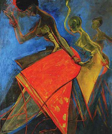 Obitun Dancers ,1990,  Oil on Canvas 102 x 76 cm.