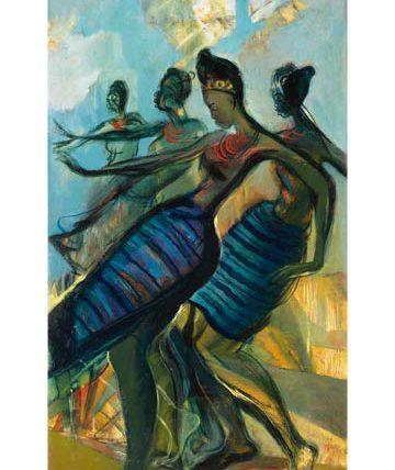 Obitun Dancers, 1984, oil on canvas, 95 x 54cm