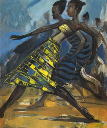 Obitun Dancers, 1991, oil on canvas, 60 x 45cm