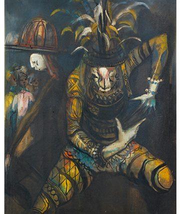 Nne Mmuo , 1987 Oil on Canvas 91.5 x 71.1 cm.