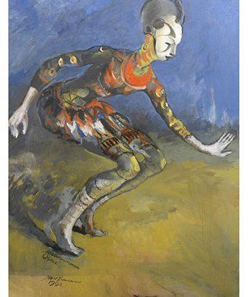 Agbogo-Mmuo/Ogolo , 1992 Oil on Canvas 102 x 79cm.