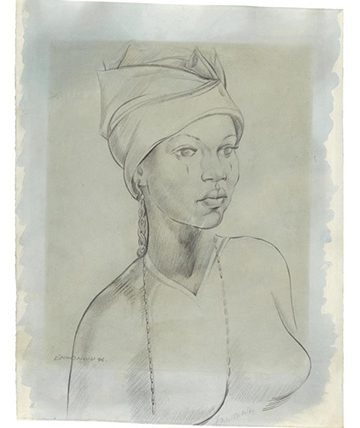 Portrait of a Girl , 1946, Pencil on Paper 50 by 39cm., 19¾ by 15¼in