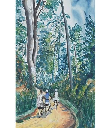 Path Through the Forest , 1951-1952 Watercolour 50 x 30cm.