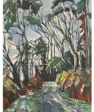 Path through Trees ,1960, Oil on Board 53.4 x 41.91cm.