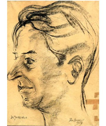 Portrait of Dr. James Welch 1954,Charcoal on Paper 33 x 25cm.