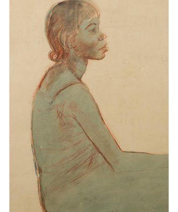 Portrait of a Yoruba Girl 1959 Grey Wash and Red Chalk 61 x 43 cm.