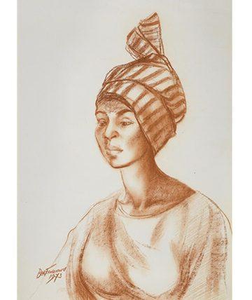 Portrait of a Yoruba lady , 1973 Pastel 59.5 x 42cm (23 716 x 16 916in)