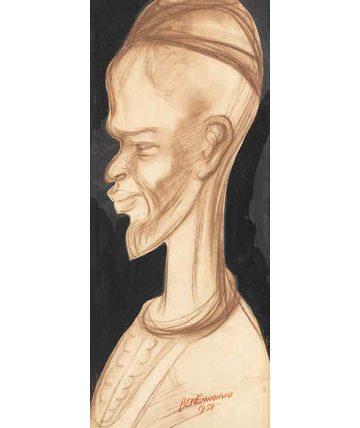 Profile of a Hausa Man, 1951, watercolour and chalk, 55 x 21cm