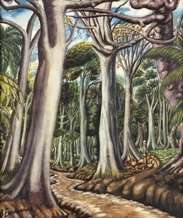 Road to Siloko, Benin Watercolour 62 x 39cm.