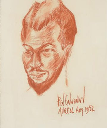 Self-Portrait, 1952, Red Chalk on Paper 35.5 x 24.5cm