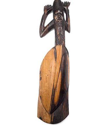 Shield Figure Carved Wood 101.6 x 22.86 x 40.64 cm