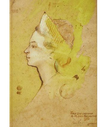 Sketch of Queen Elizabeth II, 1958, Works on paper, Watercolour, 38 x 25 cm