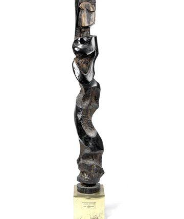 Snake Dance, 1954, Carved Wood 141 x 20 x 20cm. (Including Base)