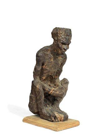 Squatting Figure Ebony 11.5 x 13 x 11.5cm.