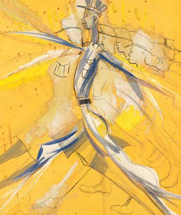 Study of a Policeman Marching, 1982, watercolour, 73.5 x 57cm