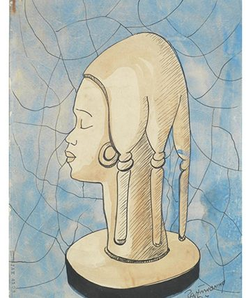 Study of a Carved Female Figure , 1947 Watercolour 37 x 27cm (14 916 x 10 58in)