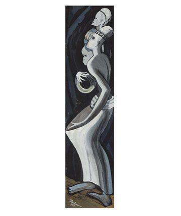 Trio of Dancing Figures ,1951, Gouache 49.5 cm x 12 cm.