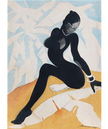 The Female Form 1987, Watercolour and Gouache 74 x 54cm.