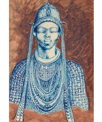 The Oba, Goauche and Ink 54 x 36cm