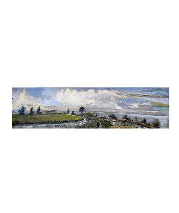The Sluice Gate - Turnbull Road, Ikoyi , 1966, Oil on Board 48.5 x 181 cm.