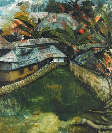 The village, 1966,  Oil on Board 62.5 x 48cm.