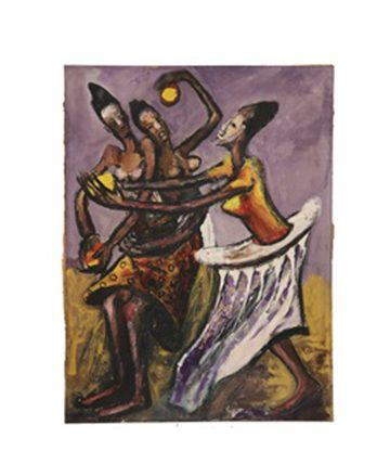 Three African Women Dancing , 1950, Gouache, 71.1 x 54 cm