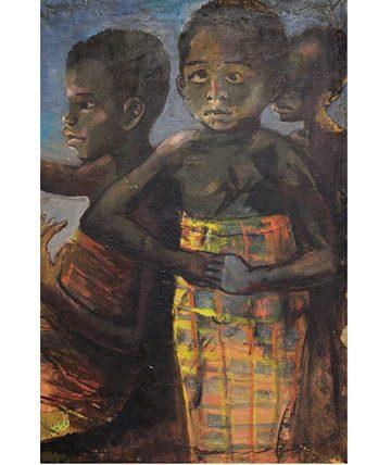 Three Biafran Children, Oil on Canvas 48 x 73.5cm (18 78 x 28 1516in)