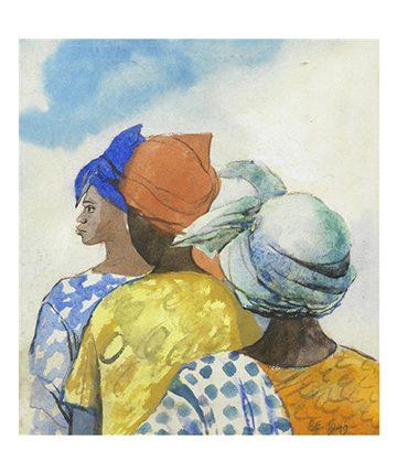 Three women , 1949 watercolour 27 x 25cm (10 58 x 9 1316in)
