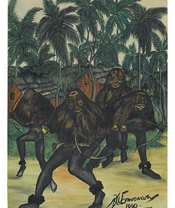 Ugala Masquerade, 1940, Watercolour on Paper, 38 cm x 27.5 cm.
