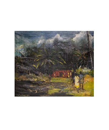 Village Children , 1964, Oil on Canvas 73.5 x 60cm.