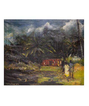 Village Children 1964, Oil on Canvas 73.5 x 60cm.