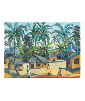 Village Scene , 1962, Oil on Canvas 39.5 x 54.5 cm.