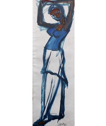 Woman in Blue Oil on Canvas 101.5 x 32.5cm (39 1516 x 12 1316in)