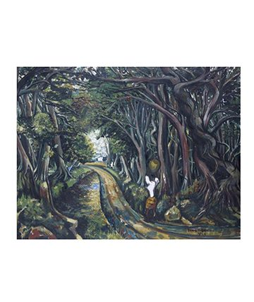 Woman on a Forest Path Oil on Canvas 66 x 84.5cm.