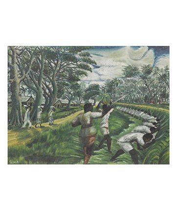 Workers in the Fields Oil on Board 53 x 72cm.