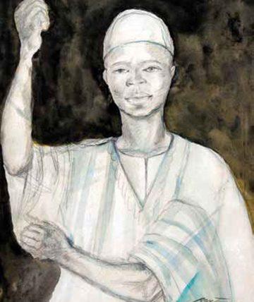 Yoruba Man, 1954 Gouache on Paper 63.5 x 49 cm.