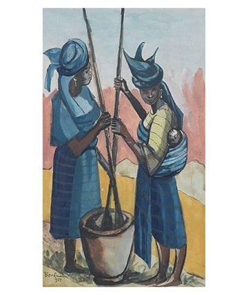 Yoruba Women Pounding Cassava, 1957 Watercolour 50 x 30cm.