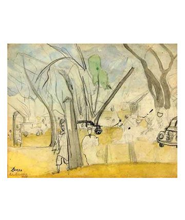 Zaria , 1958, Watercolour on Paper 22.9 x 28 cm.