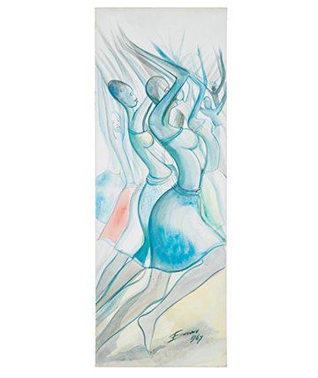 Dancing Girls, Watercolour on Paper, 74.5 x 27.5 cm
