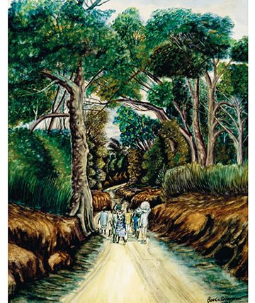 Figures on a Forest Road