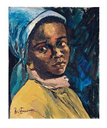 Girl with Blue Headscarf, Oil on Canvas Board, 30.5 x 24.5 cm