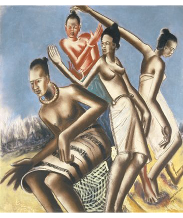 Dancing Girls, 1947, Pastel and Gouache on Paper Govt Collection