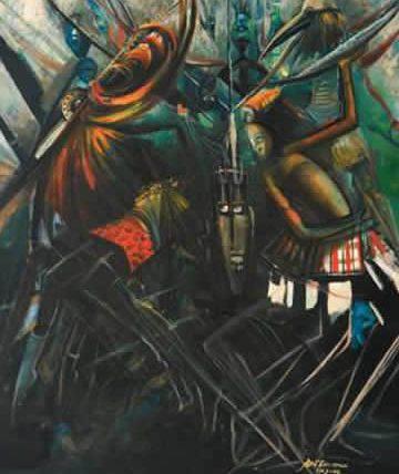 Crucified Gods Galore, 1967-68, Acrylic on Canvas, 151 x 122 cm.