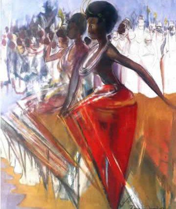 Benin to Onitsha-Ado, 1989,  Oil on Canvas.