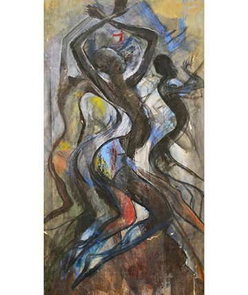 Dance Forms, 1981,  Oil on Canvas, Collection of the National Gallery of Modern Art, Lagos. Nigeria.