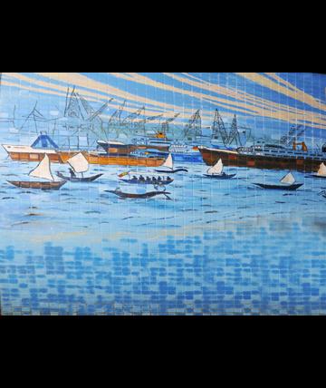 Nigeria Ports Authority Mural, Glazed tiles,1962, Collection of the Nigeria Ports Authority