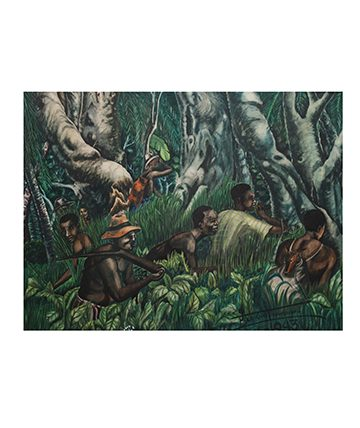 Hunters in The Jungle, 1943,  Watercolour on Card